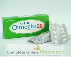 Strips and a box of generic Olmesartan Medoxomil 20mg tablets