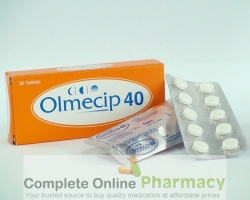 Blister strips and a box of Olmesartan Medoxomil 40mg tablets