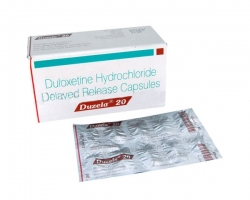 Box and blister pack of generic Duloxetine Hcl 20mg capsule