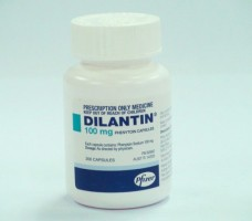 A bottle of Dilantin 100mg Capsules