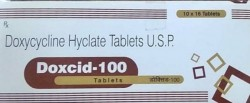 A box and a blister pack of generic Doxycycline 100mg tablet