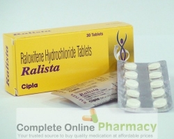 Box and blister strip of generic Raloxifene 60mg tablets