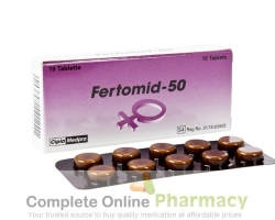 A box and a strip of clomiphene citrate 50mg tablet