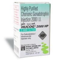Box of generic Human chorionic gonadotrophin ( HCG ) Hucog 2000 i.u.  Highly Purifed
