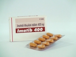 A box and a strip of generic Imatinib Mesylate 400mg Tablets
