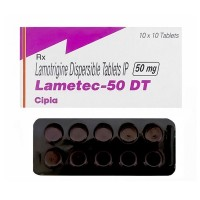 Box and blister strip of generic Lamotrigine 50mg tablets
