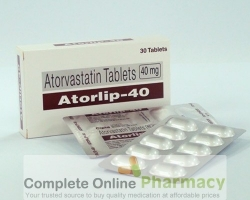 Two blister strips and a box of generic Atorvastatin Calcium 40mg tablets