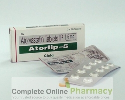 Two blister strips and a box of generic Atorvastatin Calcium 5mg tablets