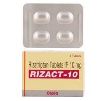 Box and blister strip of generic rizatriptan 10mg