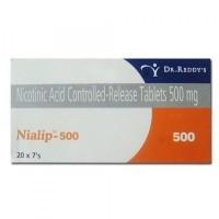 Box of generic Niacin (nicotinic acid) 500mg cr tablet