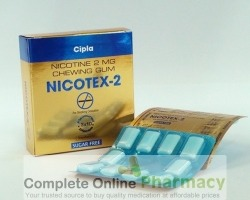 Box and blister strip of generic Nicotine 2mg Chewing Gum