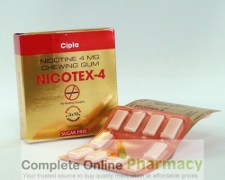 Box pack and a blister of generifc Nicotine 4mg Chewing Gum