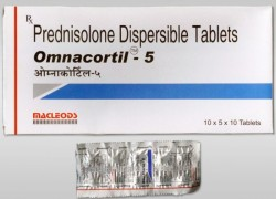 Box and blister strips of generic Prednisone (PREDISOLONE) 5mg Tablets