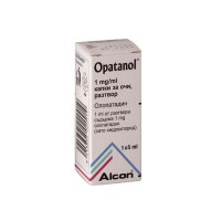 A box of generic Olopatadine 1mg/ml eye drops