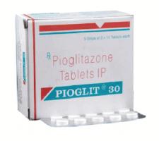 A box and a strip of generic Pioglitazone Hydrochloride 30mg tablets