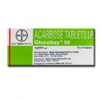 Box of generic Acarbose 50mg tablets