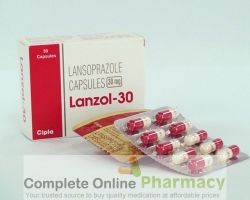 Two blisters and a box of Lansoprazole 30mg capsule