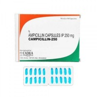 Box and blister strips of generic ampicillin 250mg capsules