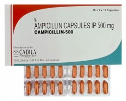 Box and blister strips of generic ampicillin 500mg capsules