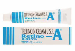 Box and tube of generic Tretinoin  A Cream .025% (20gm)