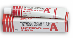 A tube and a box of generic tretinoin 0.05 percent cream
