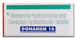 A box of generic Donepezil (5mg) + Memantine (10mg) Tablet