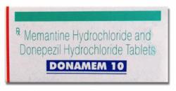 A box of generic Donepezil (5mg) + Memantine (10mg) Tablet