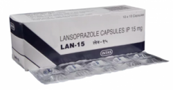 Blister and a box of Lansoprazole 15mg capsule