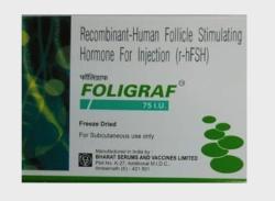 A box of Recombinant Human follicle stimulating hormone 75IU Injection