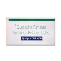 A box of generic quetiapine 400mg SR tablets