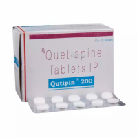 Box and blister strip of generic Quetiapine Fumarate 200mg tablets