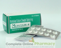 Two strips and a box of generic Montelukast Sodium 4mg Chewable tablets