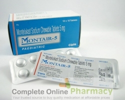 Two blister strips and a box of generic Montelukast Sodium 5mg Chewable tablets