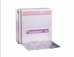 A box and a strip of Sumatriptan Succinate 50mg tablet