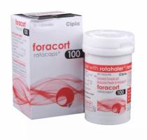 Box and bottle of generic budesonide 100mcg, formoterol fumarate 6mcg rotacaps