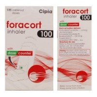 Box and bottle of generic budesonide 100mcg, formoterol fumarate 6mcg inhaler