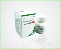 A box of generic Temozolomide 20mg Capsules