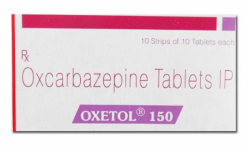 Box of generic OXCARBAZEPINE 150mg tablets
