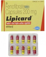A box and a blister of generic Fenofibrate 200mg tablets