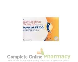 Box and blister strip of generic diclofenac sodium 100mg sr tablet
