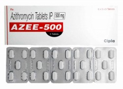 Box and blister strips of generic azithromycin  500mg tablet