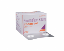 A box and a strip pack of generic fluconazole 200mg tablet