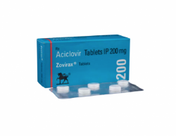 A box and a blister pack of Acyclovir 200mg tablets