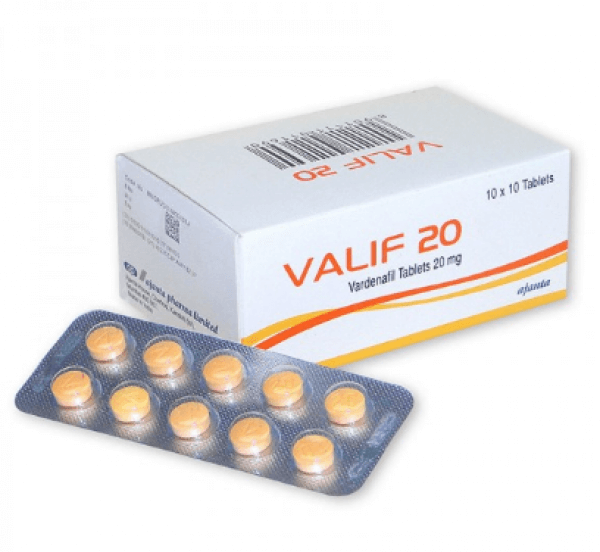 A box and a strip of generic Vardenafil HCL 20mg Tablets