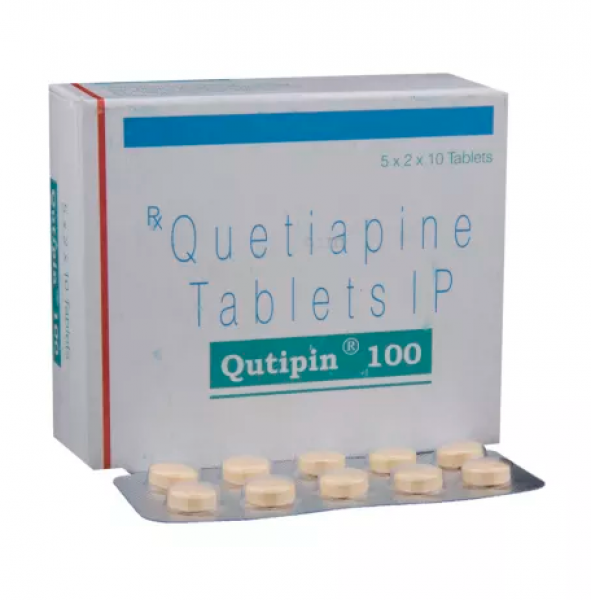 Box and blister strip of generic Quetiapine Fumarate 100mg tablets
