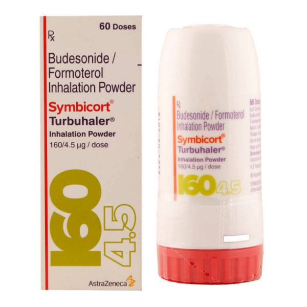 Box and bottle of generic budesonide 100mcg, formoterol fumarate 6mcg Turbuhaler
