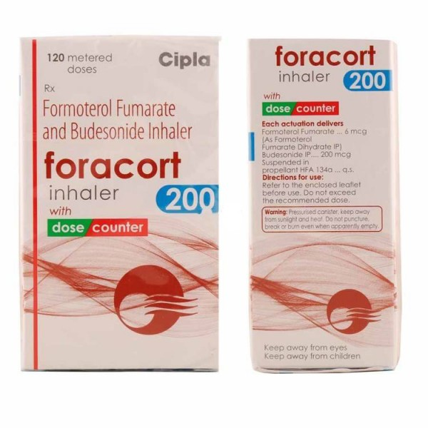 Box and bottle of generic budesonide 200mcg, formoterol fumarate 6mcg inhaler