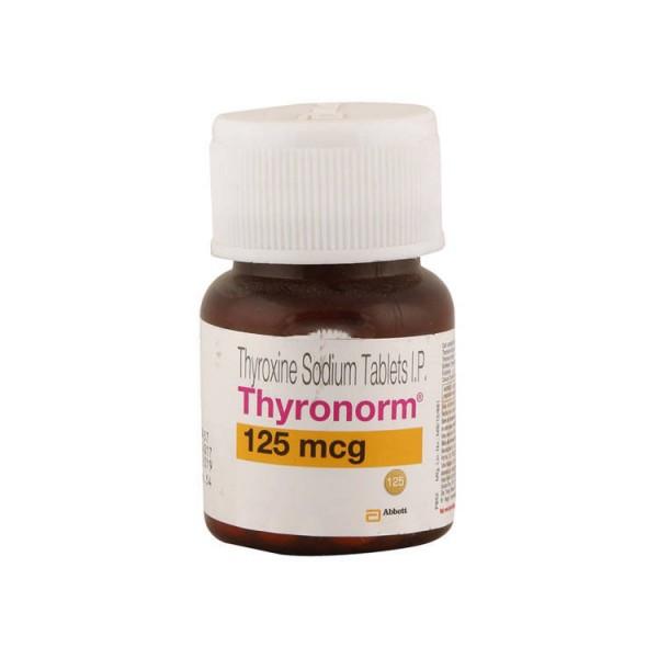 A bottle of generic levothyroxine sodium 125mcg Tablets