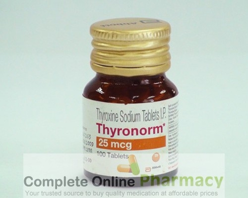 Bottle of generic levothyroxine sodium 25mcg Tablets