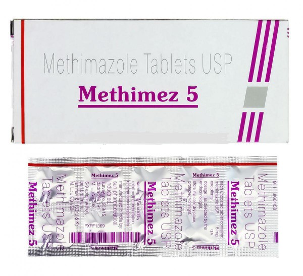 A box and a blister of generic Methimazole 5mg Tablets
